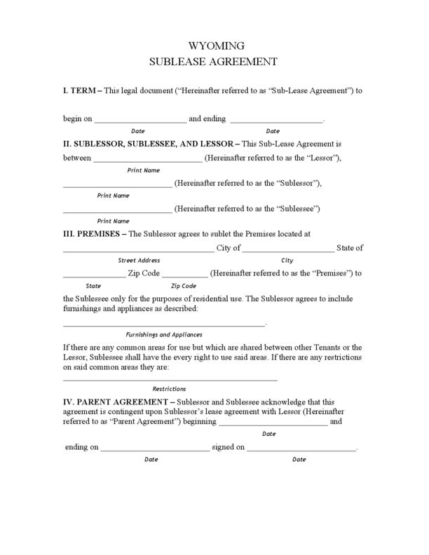 Wyoming Sublease Agreement | LegalForms.org