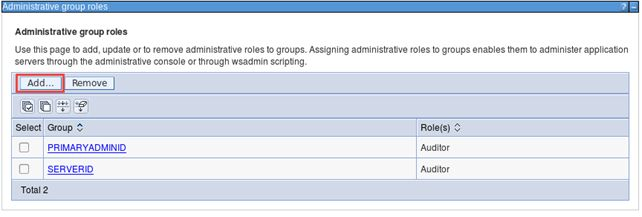 WebSphere Role Management