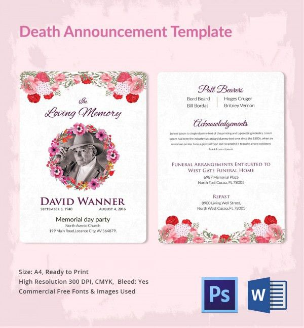 Death Announcement - 5+ Word, PSD Format Download | Free & Premium ...