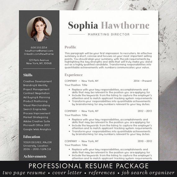 Resume Template with Photo - Professional, Modern, CV, Word, Mac ...