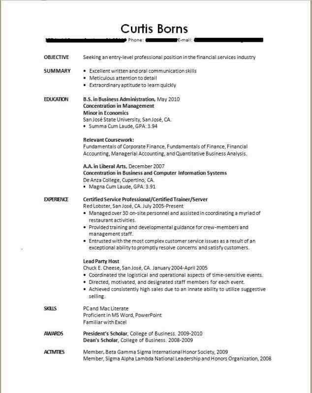 Examples Of Resumes For College. Example Of Resume For High School ...