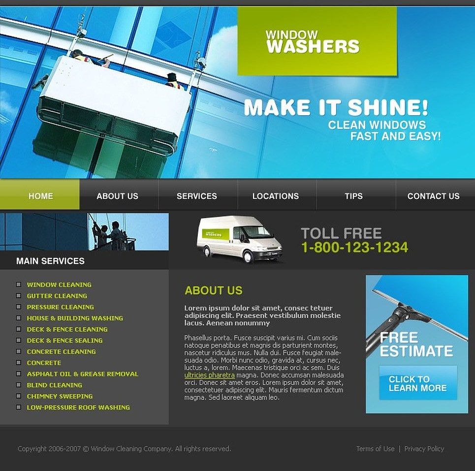Window Cleaning Website Template #13006