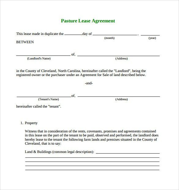 Pasture Lease Agreement Template - 6+ Download Free Documents In ...