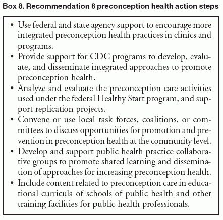 Recommendations to Improve Preconception Health and Health Care ...