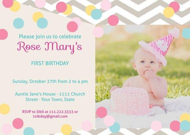 First Birthday Invitations | 40% Off Super Cute Designs - Basic Invite