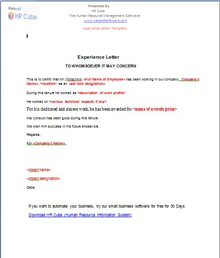 Experience Letter – Download Template