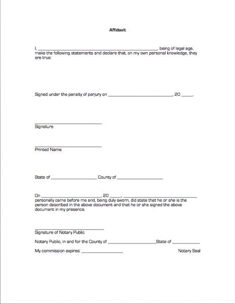 Printable Blank Affidavit Form Template Example with Date and ...