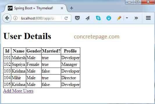Boot + Thymeleaf + Maven Example