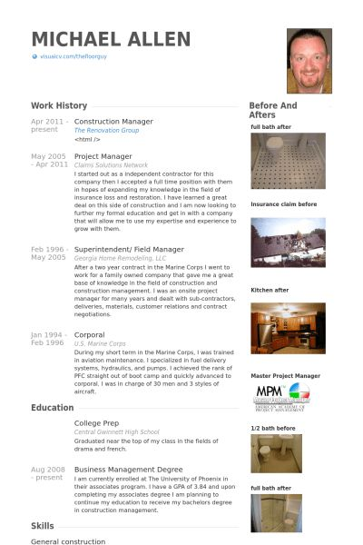 Construction Resume samples - VisualCV resume samples database