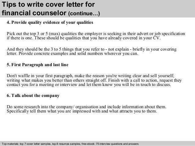 Financial counselor cover letter