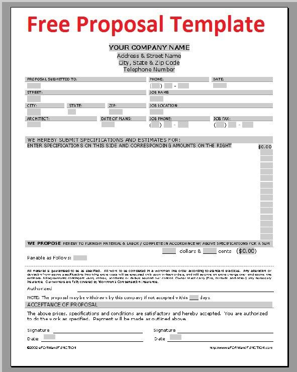 Printable Sample Construction Proposal Template Form | Real Estate ...