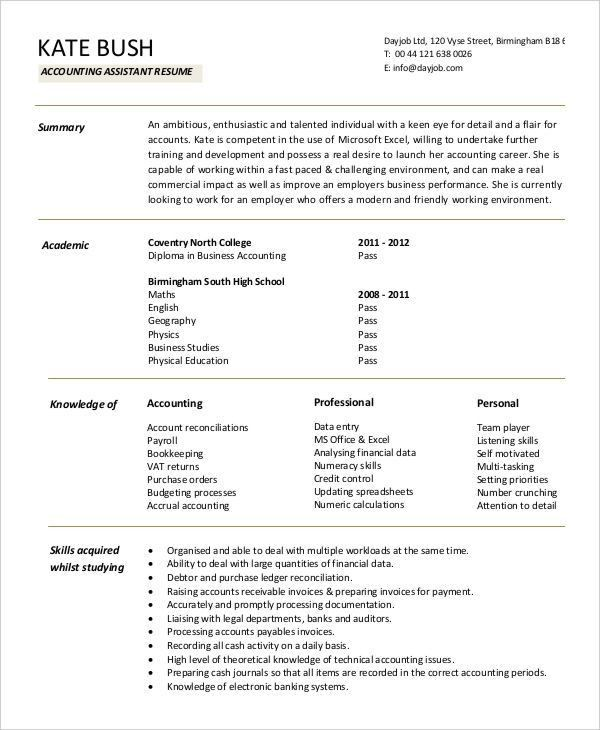 7 Account Assistant Resume Format Resume accounts assistant resume ...
