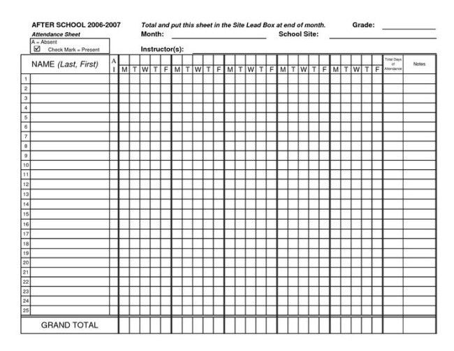Inspiring Monthly Attendance Sheet Template Example for School ...