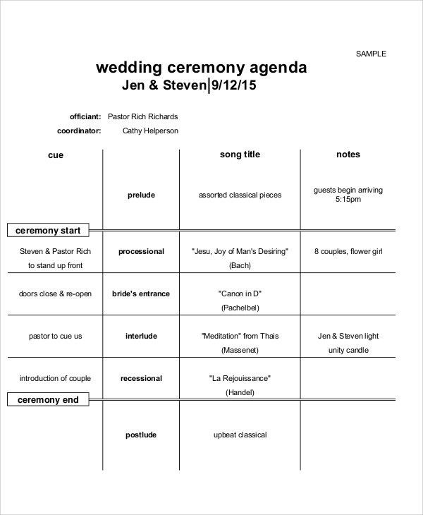 8+ Sample Ceremony Agenda - Free Sample, Example Format Download ...