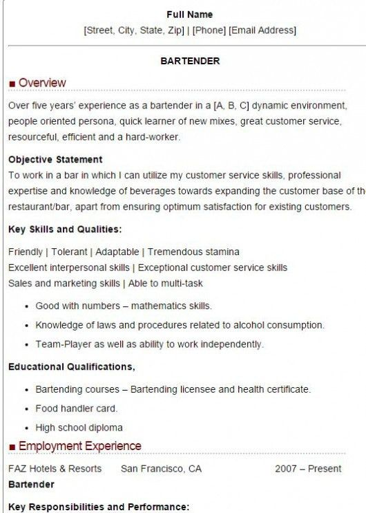 Sample Bartender Resume 5 Mixologist Example - Template - uxhandy.com