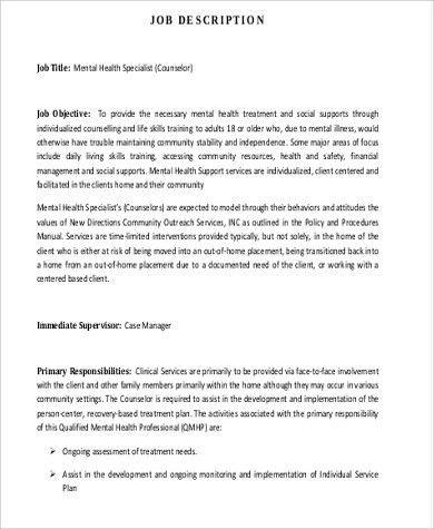 Mental Health Counselor Job Description Sample - 8+ Examples in ...