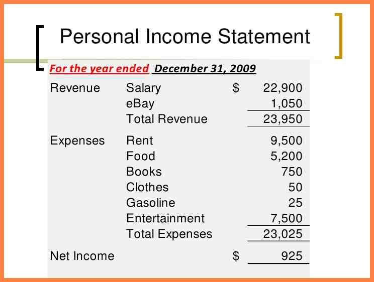 7+ personal income statement example | Personal Statement Examples