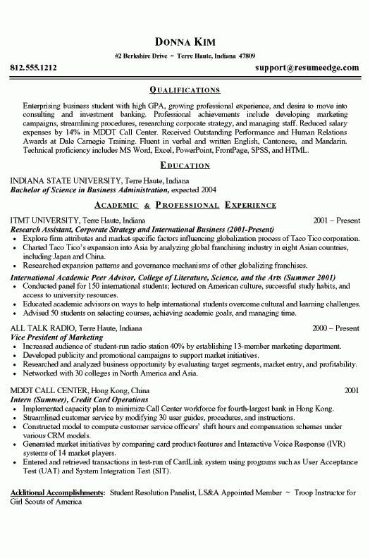 College Grad Resume Sample | jennywashere.com