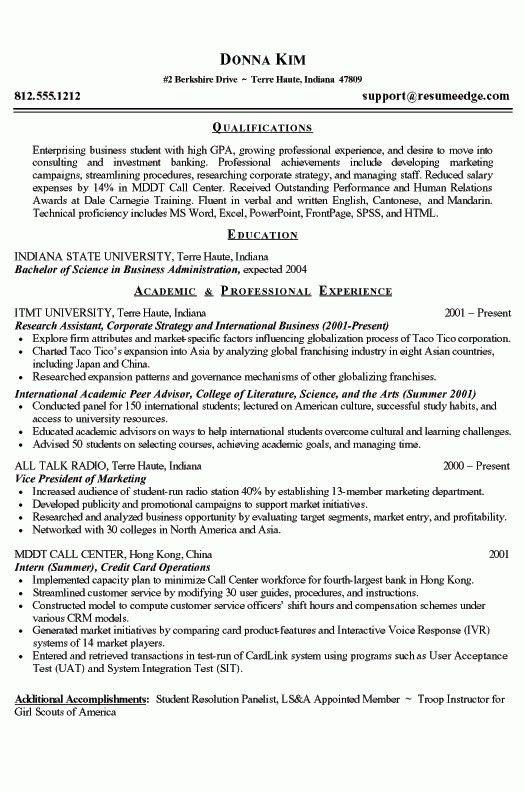 College Grad Resume Sample | jennywashere.com