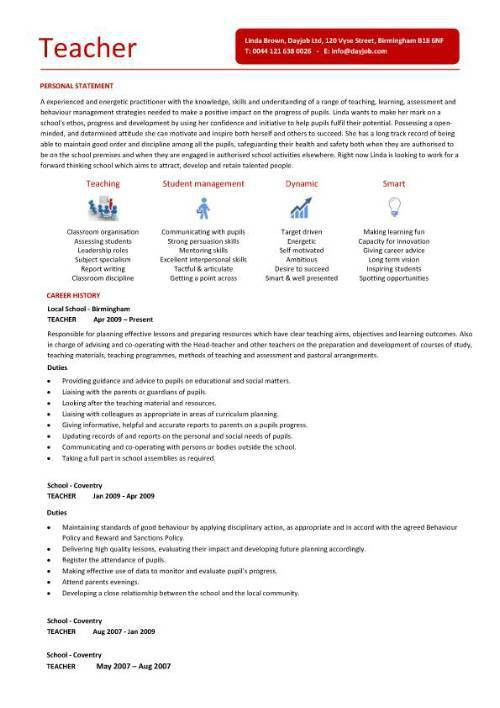 Teaching CV template, job description, teachers at school, CV ...