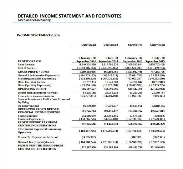 Income Statement Sample. Multi-Step Income Sample Statement 50+ ...