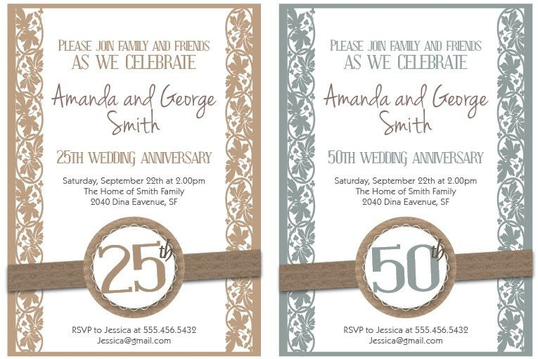 Printable Wedding Anniversary Invitation Cards ~ Yaseen for .