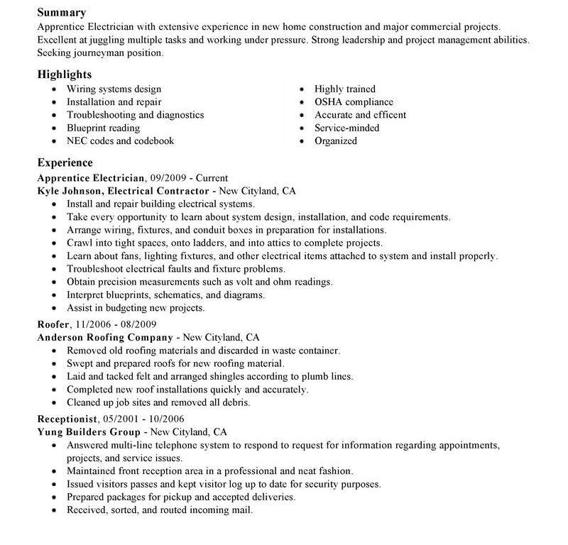 Electrician Resume Examples. 9 Sample Electrician Resumes ...
