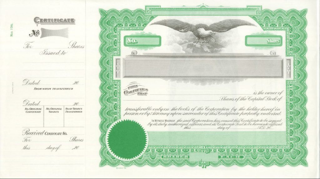 Form Of Common Stock Certificate Where The Blank : Selimtd