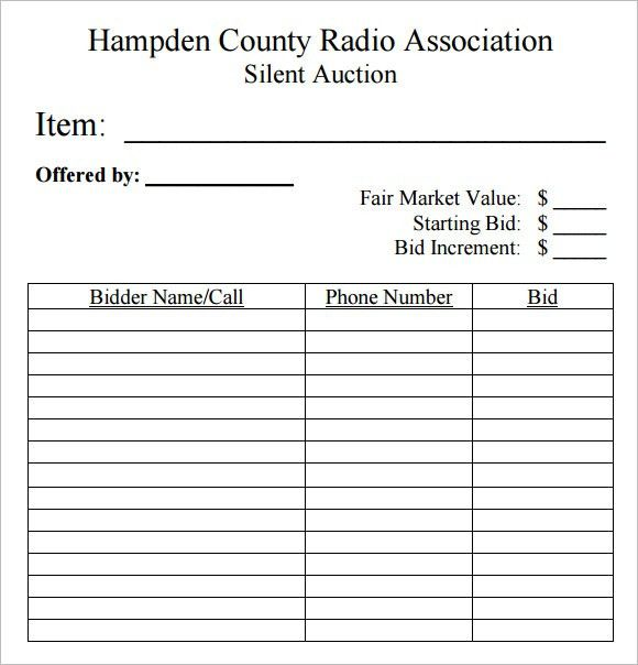 Sample Silent Auction Bid Sheet – 6+ Example, Format