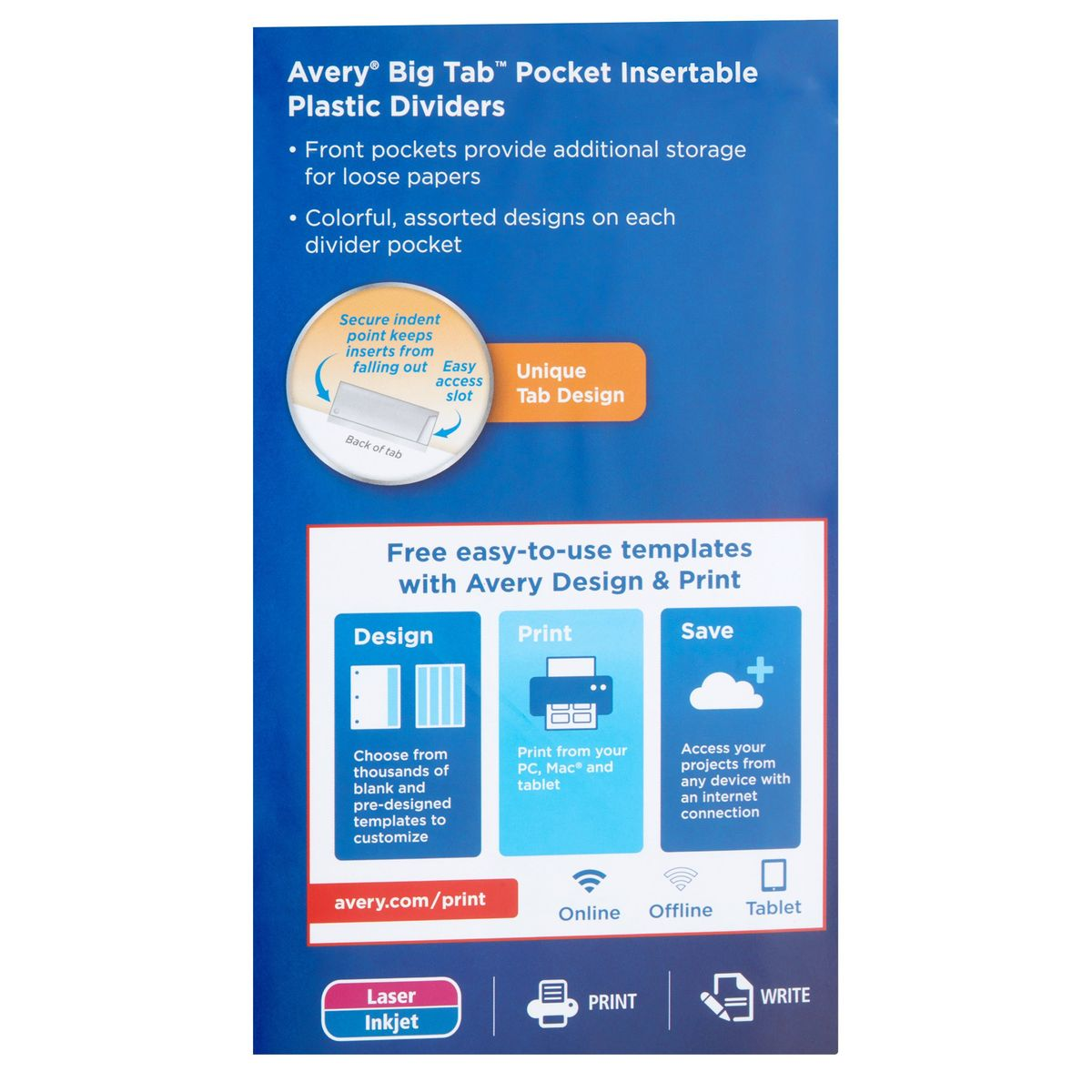 Avery(R) Big Tab(TM) Insertable Plastic Dividers with Pockets ...