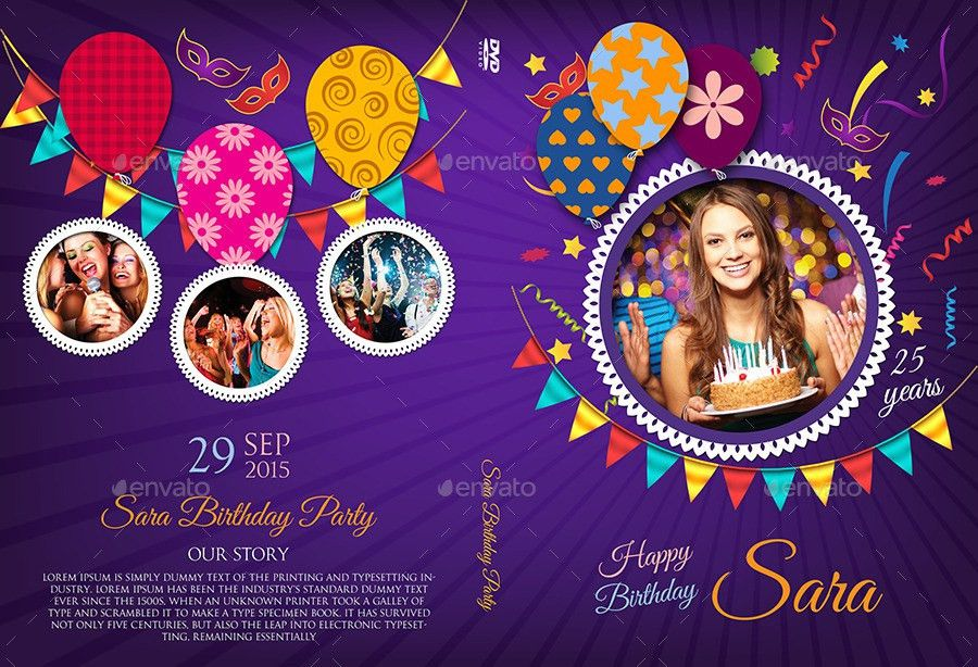 Birthday Party DVD Cover and DVD Label Template 3 by OWPictures ...