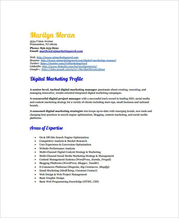 Sample Marketing Resume Template - 6+ Free Documents Download in ...