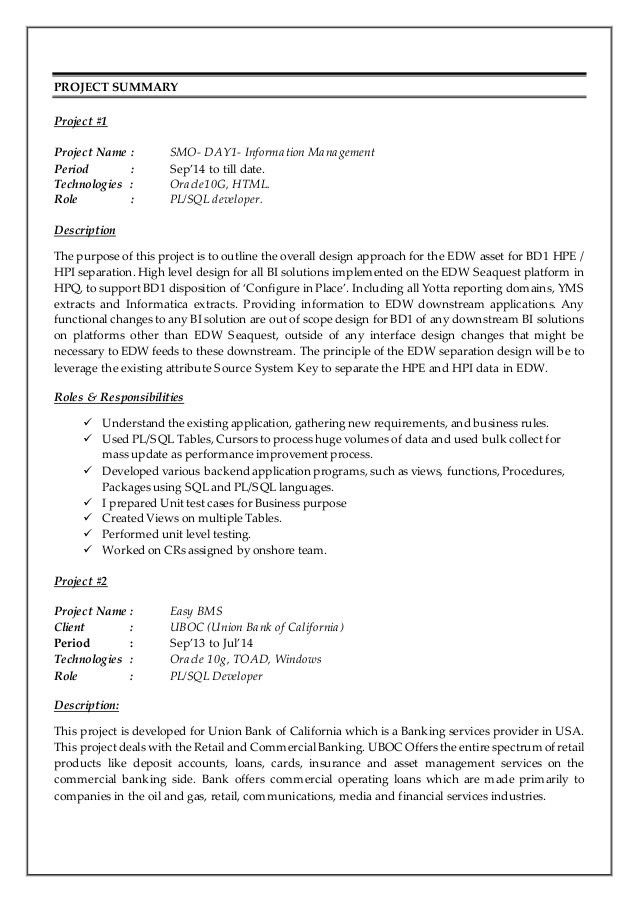 Pl Sql Developer Resume | haadyaooverbayresort.com