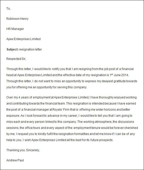 8 Driver Resignation Letter Format Executive Resume Template ...