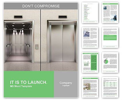 Two images of a modern elevator with opened and closed doors Word ...