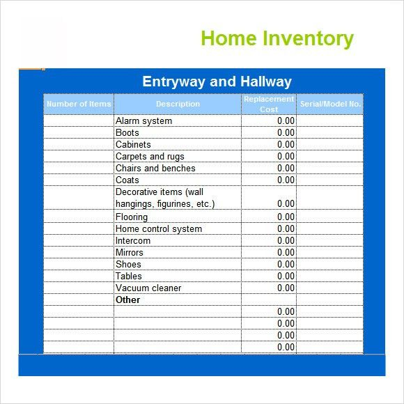 household inventory spreadsheet