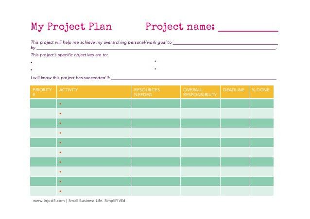 Small business project plan template
