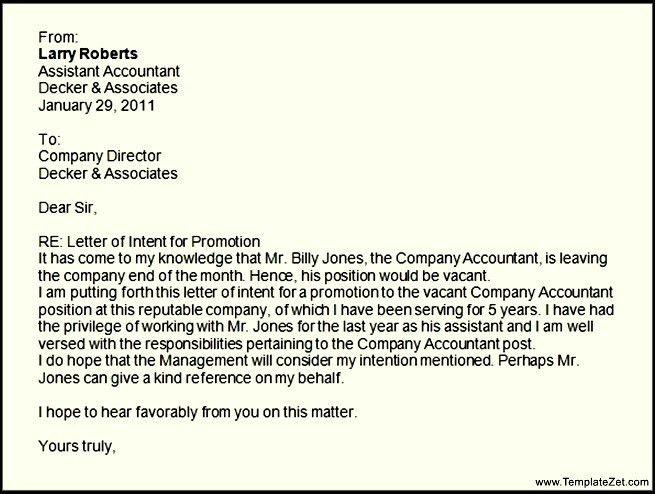 Letter of Intent for Promotion | TemplateZet