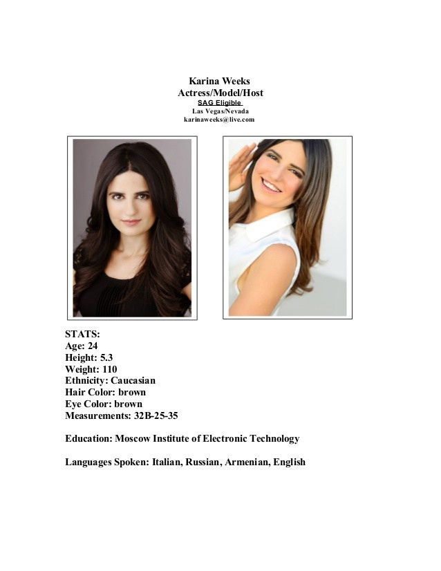 Karina Weeks Modeling Acting resume