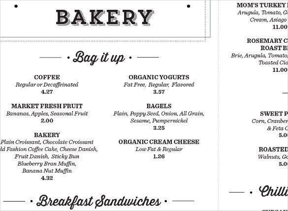 27+ Bakery Menu Templates – Free Sample, Example Format Download ...