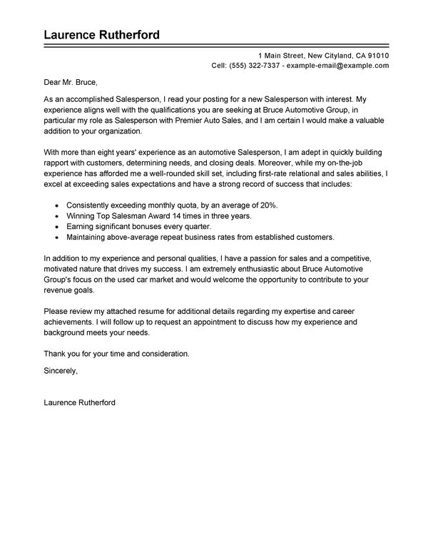 Best Automotive Salesperson Cover Letter Examples | LiveCareer