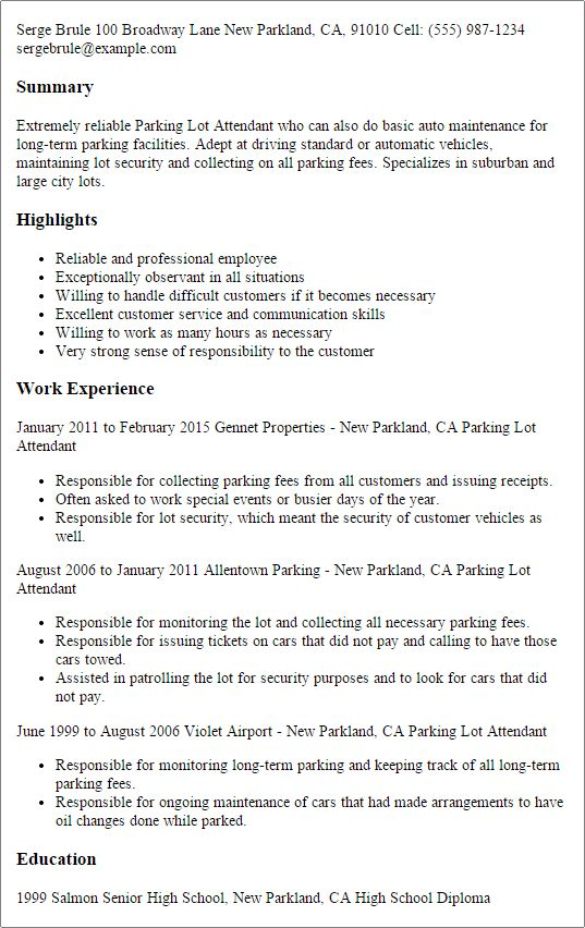 valet parking resume sample