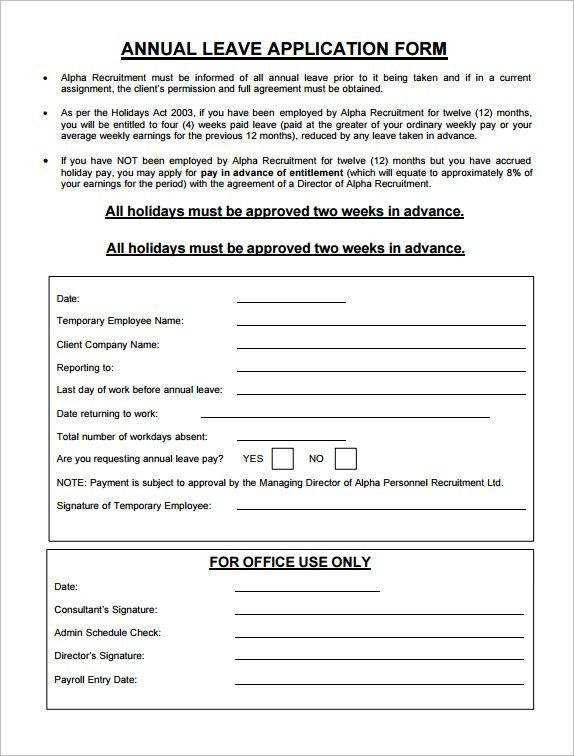 Annual Leave Application Form 8 Annual Leave Application Format – Sample Leave Request Form