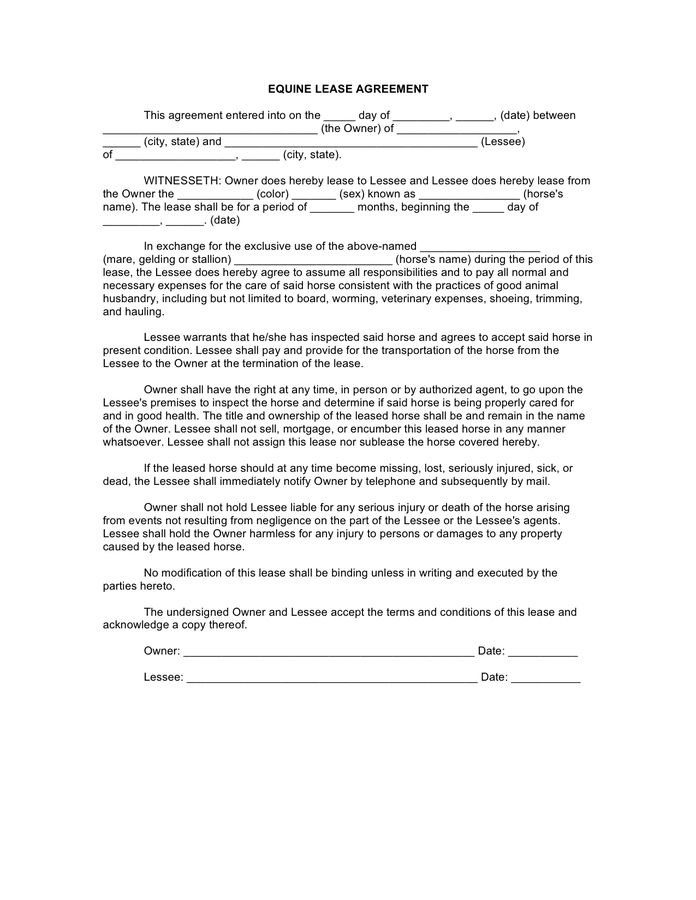 Horse Lease Agreement - download free documents for PDF, Word and ...