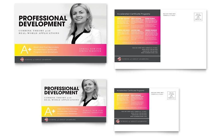 Adult Education & Business School Postcard Template - Word & Publisher