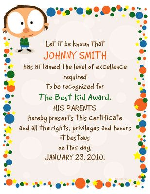 Best Kid Award Certificate - Congratulations Printable Card ...