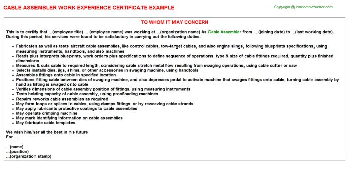 Cable Assembler Work Experience Certificate
