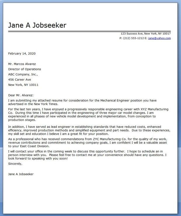 Mechanical Engineer Cover Letter Example with Engineering Cover ...