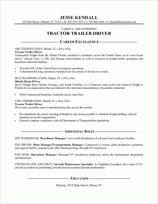 Resume Examples. Resume Templates for Truck Drivers Summary of ...