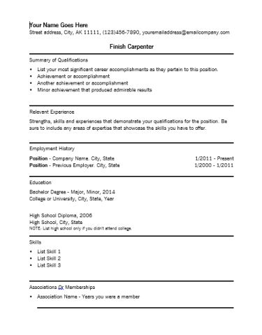Finish Carpenter Resume Template - Writing Resume Sample | Writing ...